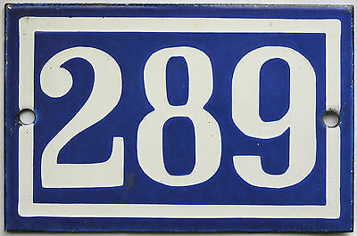 Old blue French house number 289 door gate plate plaque enamel steel metal sign