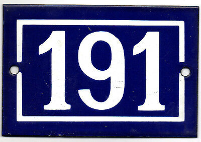 Old blue French house number 191 door gate plate plaque enamel steel metal sign