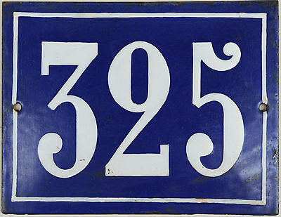 Large old French house number 325 door gate plate plaque enamel steel metal sign