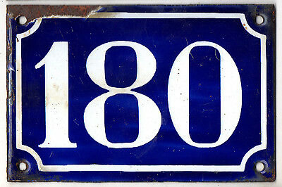 Old blue French house number 180 door gate plate plaque enamel steel sign c1900