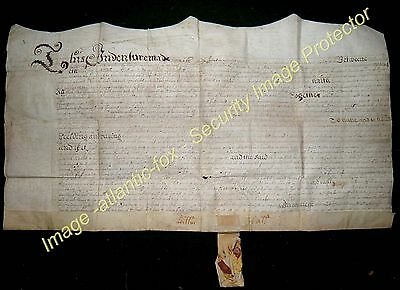 1660 HEATHERWICK Northumberland William Hall to Cuthbert Hedley Vellum Indenture