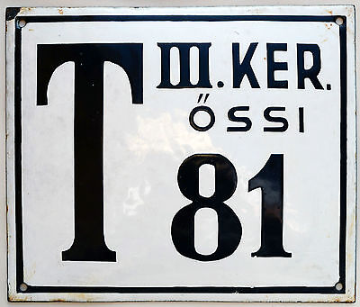 Large old Hungarian house number 81 door gate plate plaque enamel metal sign