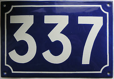 Large old French house number 337 door gate plate plaque enamel steel metal sign