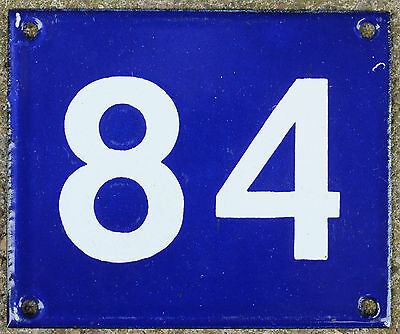 Old Australian used house number 84 door gate enamel metal sign in French blue