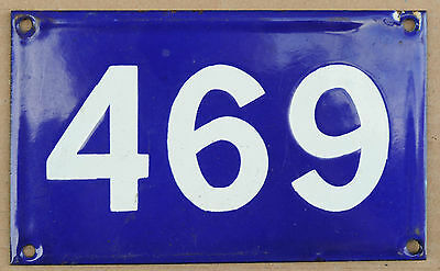 Old Australian used house number 469 door gate enamel metal sign in French blue