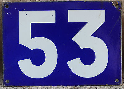 Giant old French house number 53 door gate plate plaque enamel steel sign