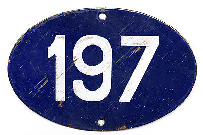 Old blue oval French house number 197 door gate plate plaque enamel steel sign