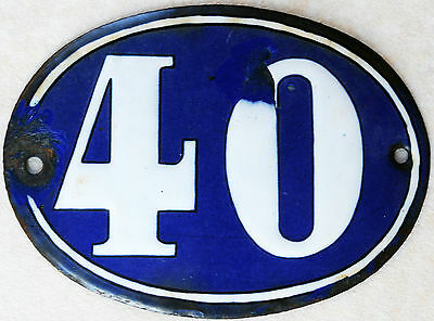 Old blue oval French house number 40 door gate plate plaque enamel steel sign