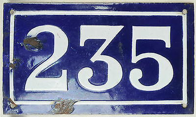 Large old blue French house number 235 door gate plate plaque enamel metal sign