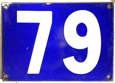 Giant old blue French house number 79 door gate plate plaque enamel metal sign