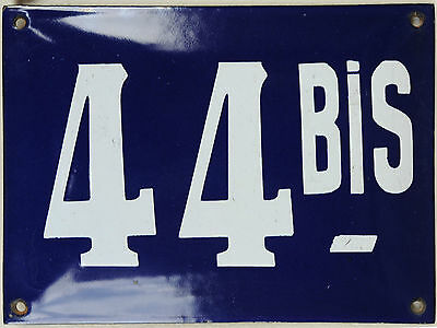Old large blue French house number 44 B door gate plaque enamel steel metal sign