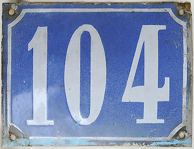 Old large blue French house number 104 door gate plaque enamel steel metal sign
