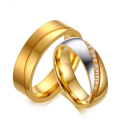 18K Gold Plated CZ Stainless Steel Couple Ring Men/Women Wedding Band Size 5-12