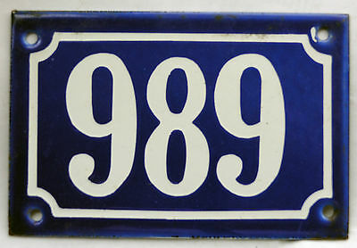 Old blue French house number 989 door gate plate plaque enamel steel metal sign