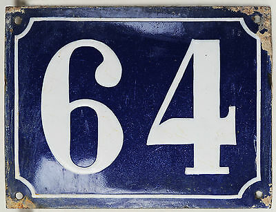 Old large blue French house number 64 door gate plaque enamel steel metal sign