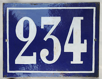 Large old French house number 234 door gate plate plaque enamel steel metal sign