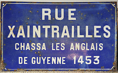 Old French enamel steel street road sign plaque Rue Xaintrailles Bordeaux Paris