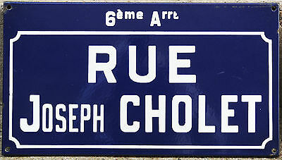 Old French enamel steel street sign road plaque name Rue Joseph Cholet Nantes
