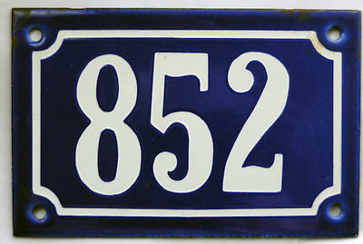 Old blue French house number 852 door gate plate plaque enamel steel metal sign