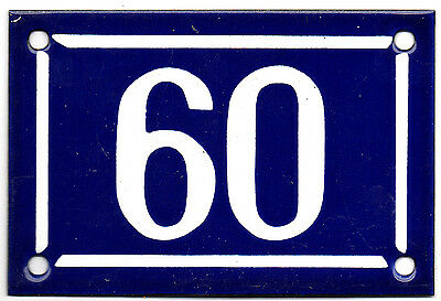 Old blue French house number 60 door gate plate plaque enamel steel metal sign