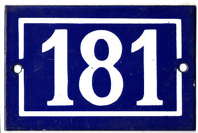 Old blue French house number 181 door gate plate plaque enamel steel metal sign