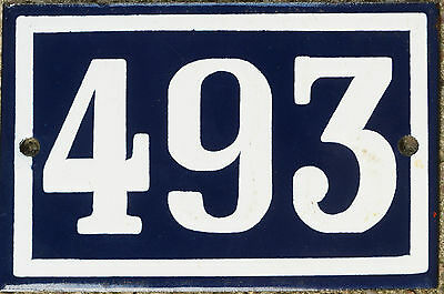 Old blue French house number 493 door gate plate plaque enamel steel metal sign