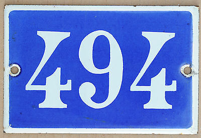 Old blue French house number 494 door gate plate plaque enamel steel metal sign