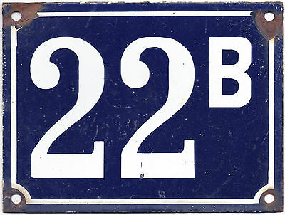 Large old French house number 22B door gate plate plaque enamel steel metal sign