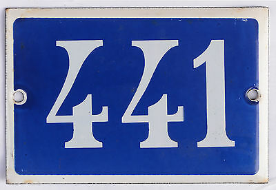 Old blue French house number 441 door gate plate plaque enamel steel metal sign