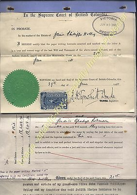 1921 BRITISH COLUMBIA $1 Revenue stamp Probate Will of Jane Phillips-Wolley
