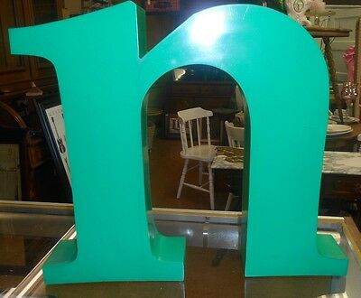 """VINTAGE Industrial Channel Salvage Metal Green n Architectural 16"""" Tall"""