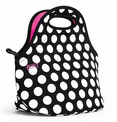 BUILT NY Gourmet Getaway LUNCH TOTE Bag Insulated NEOPRENE - BLACK & White DOTS