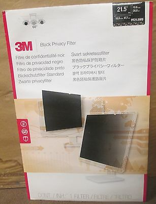 NEW 3M Black Privacy Filter for Widescreen Desktop LCD Monitor 21.5""