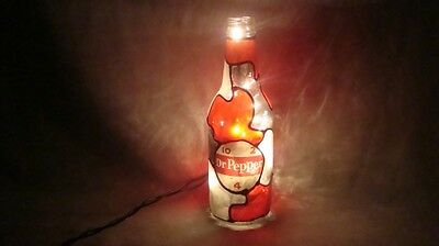 Dr. Pepper Bottle Light Lamp Custom Decorated Tiffany Style Hand Crafted Vintage