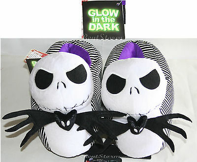 NEW Glow in the Dark JACK Nightmare Before Christmas Adult Plush Slippers Shoes