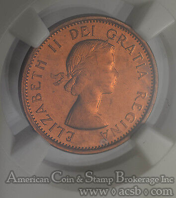 Canada 1c One Cent 1957 MS66 RD NGC KM#49 NEW VARIETY DIE CRACK STEM REV