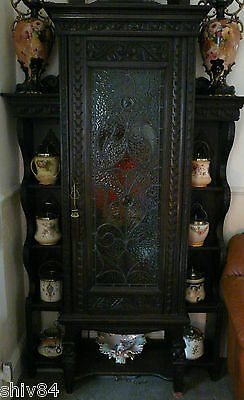 Victorian Dark Oak Hall  Cabinet - Unusual Piece Of Furniture