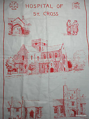 Tea Towel Hospital of St Cross Winchester UK Cotton 1992 Souvenir Red White Vtg