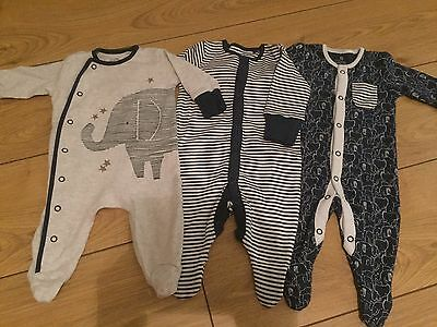 NEXT baby Boys 3 Sleepsuits / Rompers In Blue Elephant Design. 0-1mth