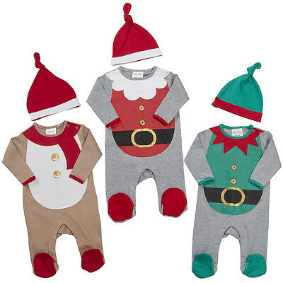 Baby Christmas Sleepsuit Babygrow Santa or Elf Dress Up with Hat NB 0-3M 3-6M