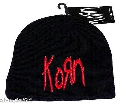 KORN BEANIE HAT/CAP Embroidered Logo Black/Red Officially Licensed NEW