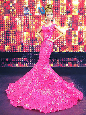 Pink Evening Mermaid Dress Outfit Gown Fits Silkstone Barbie Fashion Royalty FR2