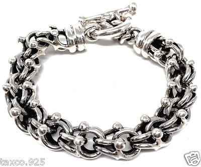 Taxco Mexican 925 Sterling Silver Thick Heavy Unisex Chain Bracelet Mexico