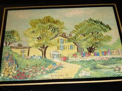 Antique Vintage Hand EMBROIDERED Linen Picture OLIVER WENDELL HOLMES Birthplace