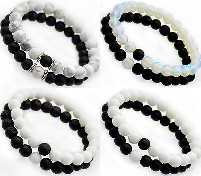 Couples Bracelets Matte Black Onyx Yin Yang Beaded Yoga Bracelet His and Her