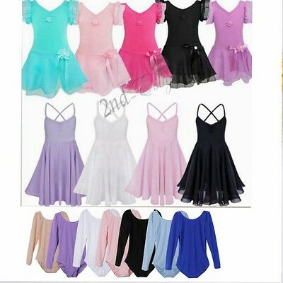 Girls Chiffon Ballet Dress Tutu Skirt Toddler Leotard Outfit Dance skate Costume