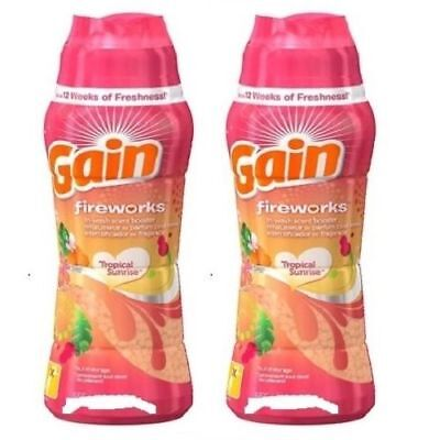 Gain Fireworks Tropical Sunrise Scent In-Wash Scent Booster 2 Bottle Pack