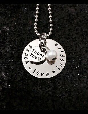 personalised hand stamped 30mm Disc Teachers Or Student Gift On 60cm Chain