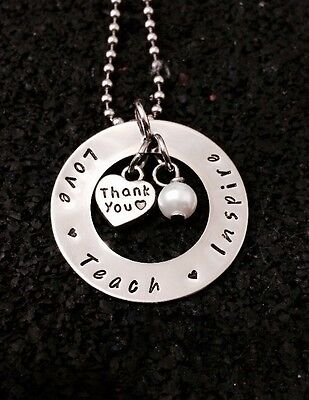 personalised hand stamped 32mm Washer Teachers Or Student Gift On 60cm Chain