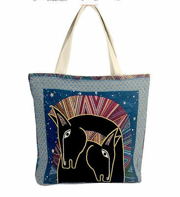 Horse & Western Ladies Womens Girls  Acessories Tapestry Canvas Horses Tote Bag